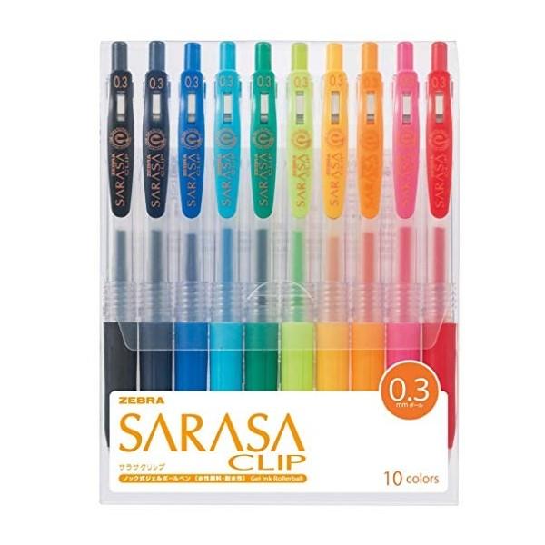 Zebra Gel Pen Sarasa Clip 0.3mm Set of 10