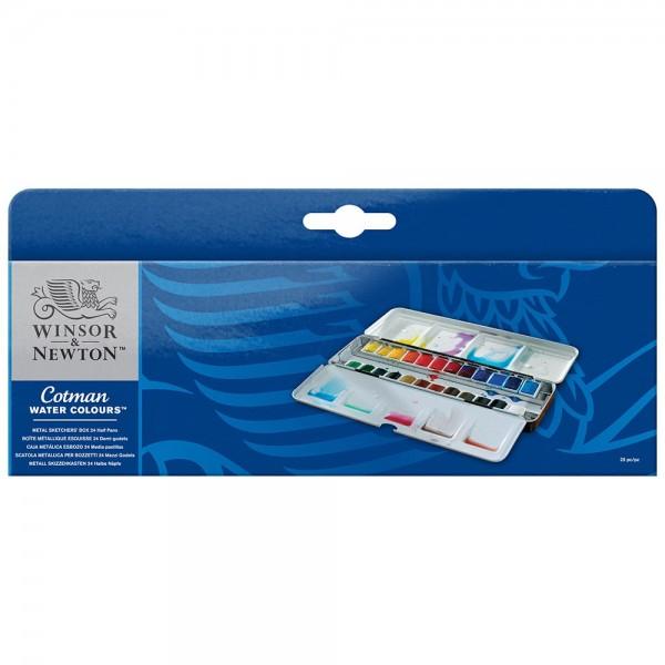 Winsor and Newton Cotman 24 Half Pan Metal Sketchers' Box