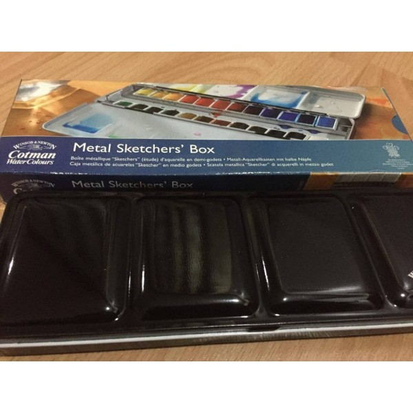 Winsor and Newton Cotman 24 Half Pan Metal Sketchers' Box