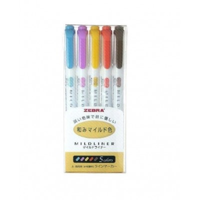Zebra Midliner Double-Sided Set of 5 Bold
